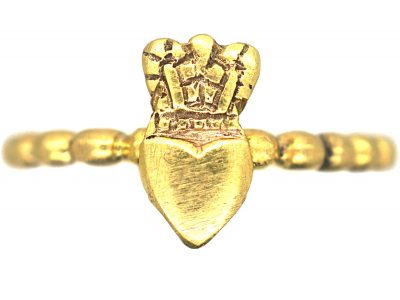 Georgian 18ct Gold Ring with Heart & Crown