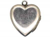 Silver Heart Shaped Locket with Engraved Detail