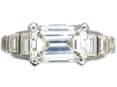 French Art Deco 18ct White Gold & Emerald Cut Diamond Ring