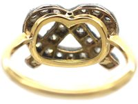 18ct Gold , Silver & Diamond Lover's Knot or Stafford Knot Ring