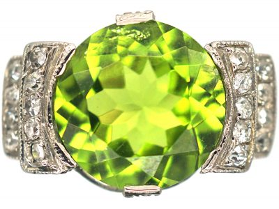 French Art Deco Platinum, Peridot & Diamond Ring