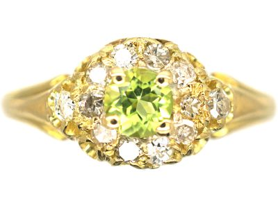 Edwardian 18ct Gold , Peridot & Diamond Cluster Ring
