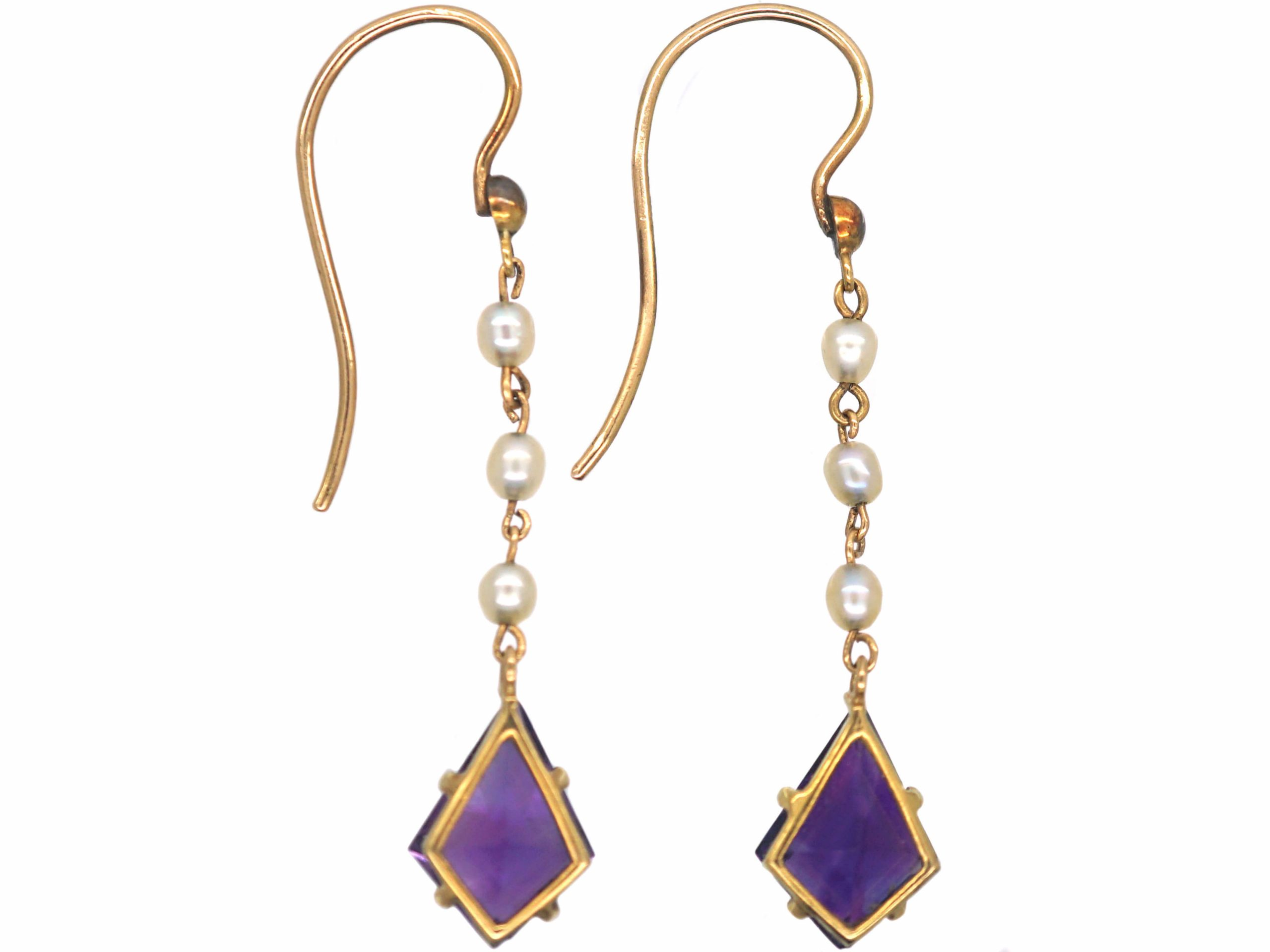 Art Deco 15ct Gold, Kite Shaped Amethyst & Natural Pearl Drop Earrings