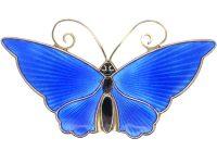 Silver & Blue & Black Enamel Butterfly Brooch by David Andersen