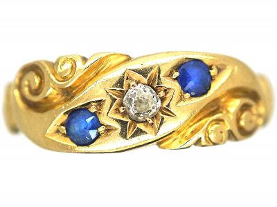 Edwardian 18ct Gold, Sapphire & Diamond Crossover Motif Ring