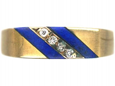 9ct Gold Stripy Blue Enamel & Diamond Ring
