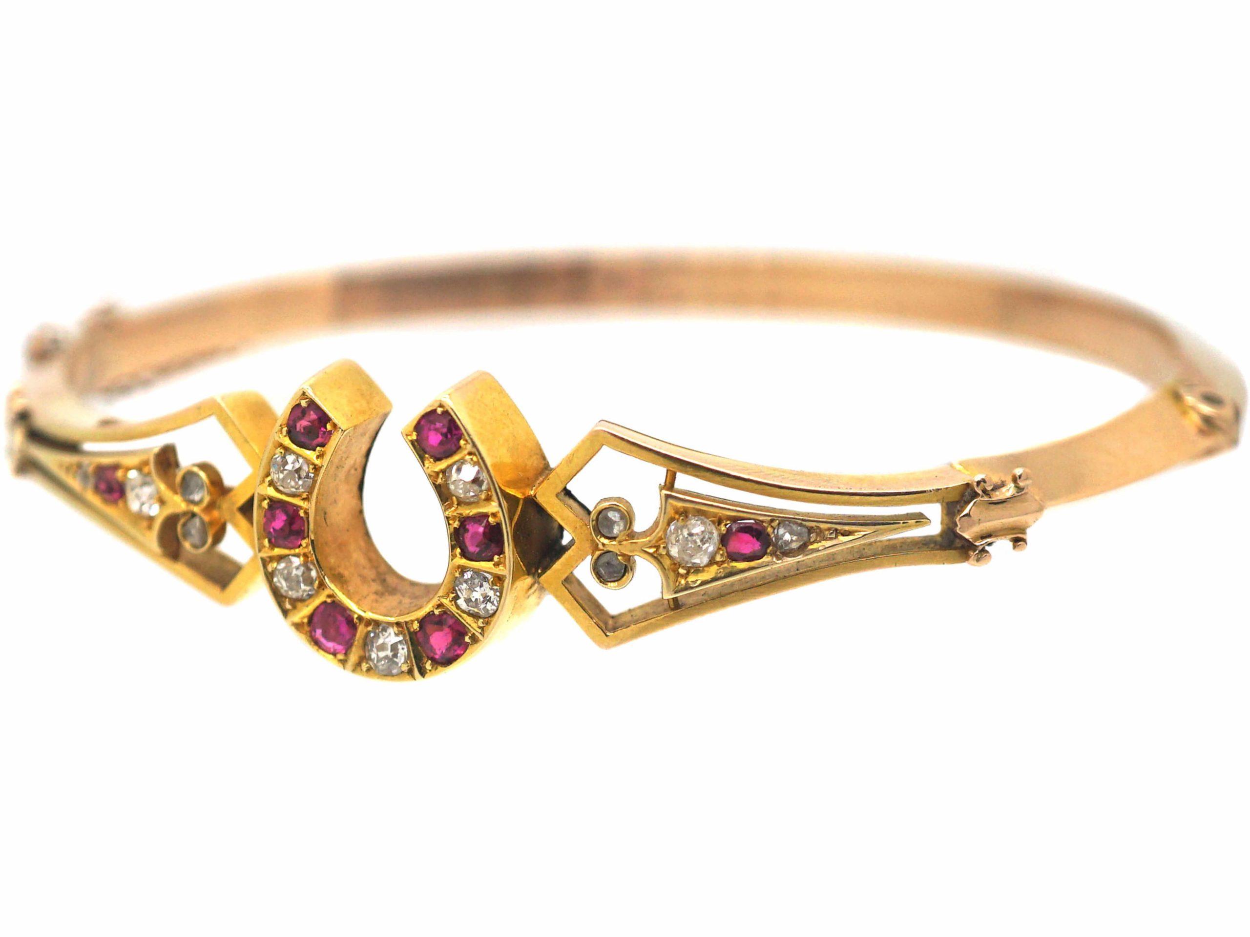Victorian 15ct Gold, Ruby & Diamond Bangle with Horseshoe Motif
