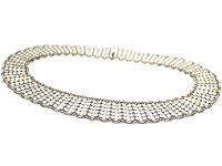 Norwegian Silver & White Enamel Collar Necklace by Einar Modahl