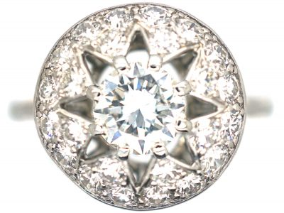 French Platinum Diamond Cluster Ring by Cartier, Paris