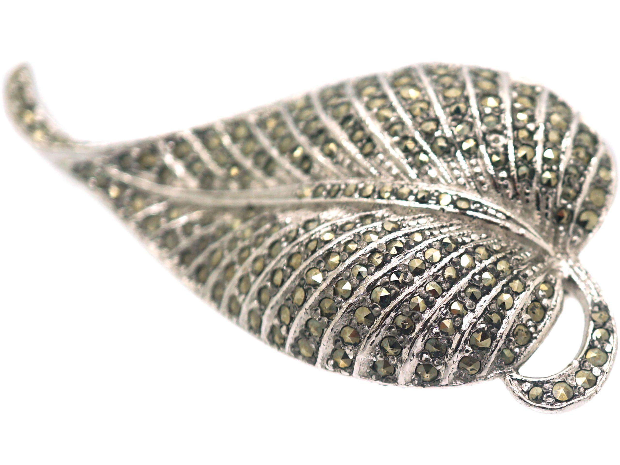 Silver & Marcasite Leaf Brooch
