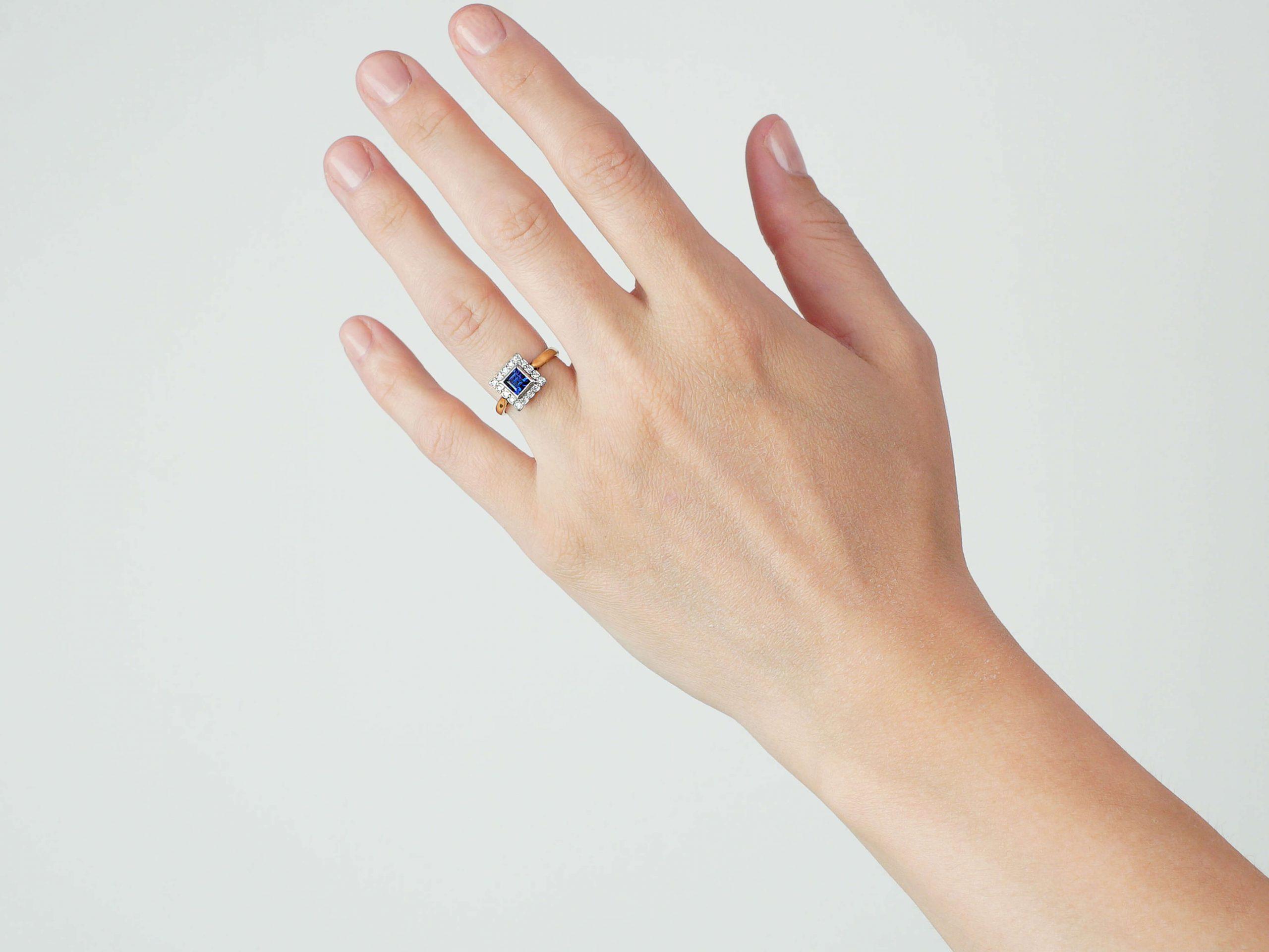 Art Deco 18ct Gold & Platinum, Sapphire & Diamond Square Shaped Ring