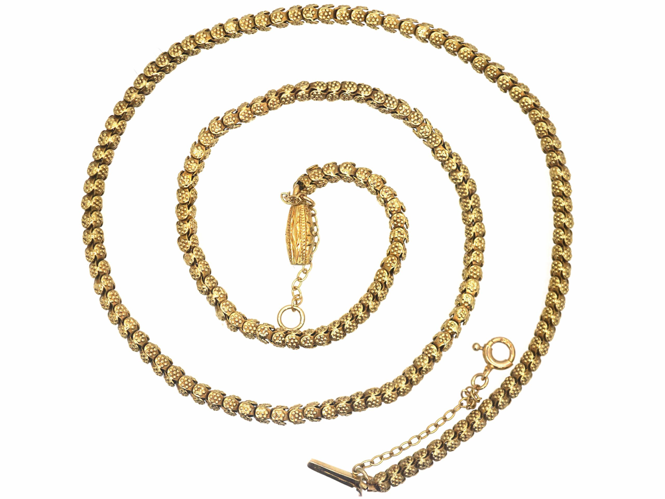 Victorian 15ct Gold Chain with Flower Motif & Decorative Clasp
