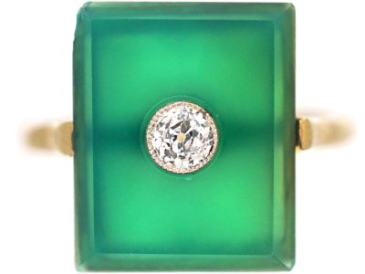 Art Deco Green Chalcedony & Diamond Rectangular Ring