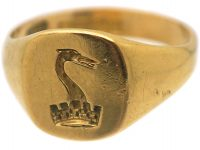 Edwardian 18ct Gold Ring with a Heraldic Crest of a Pelican and a Crown
