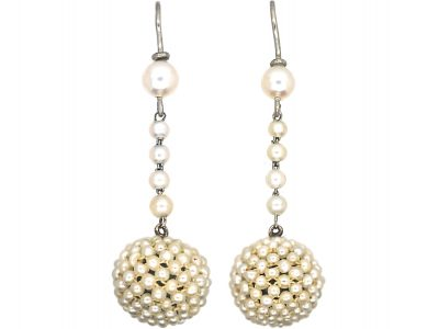 Edwardian Platinum & Natural Pearl Drop Earrings