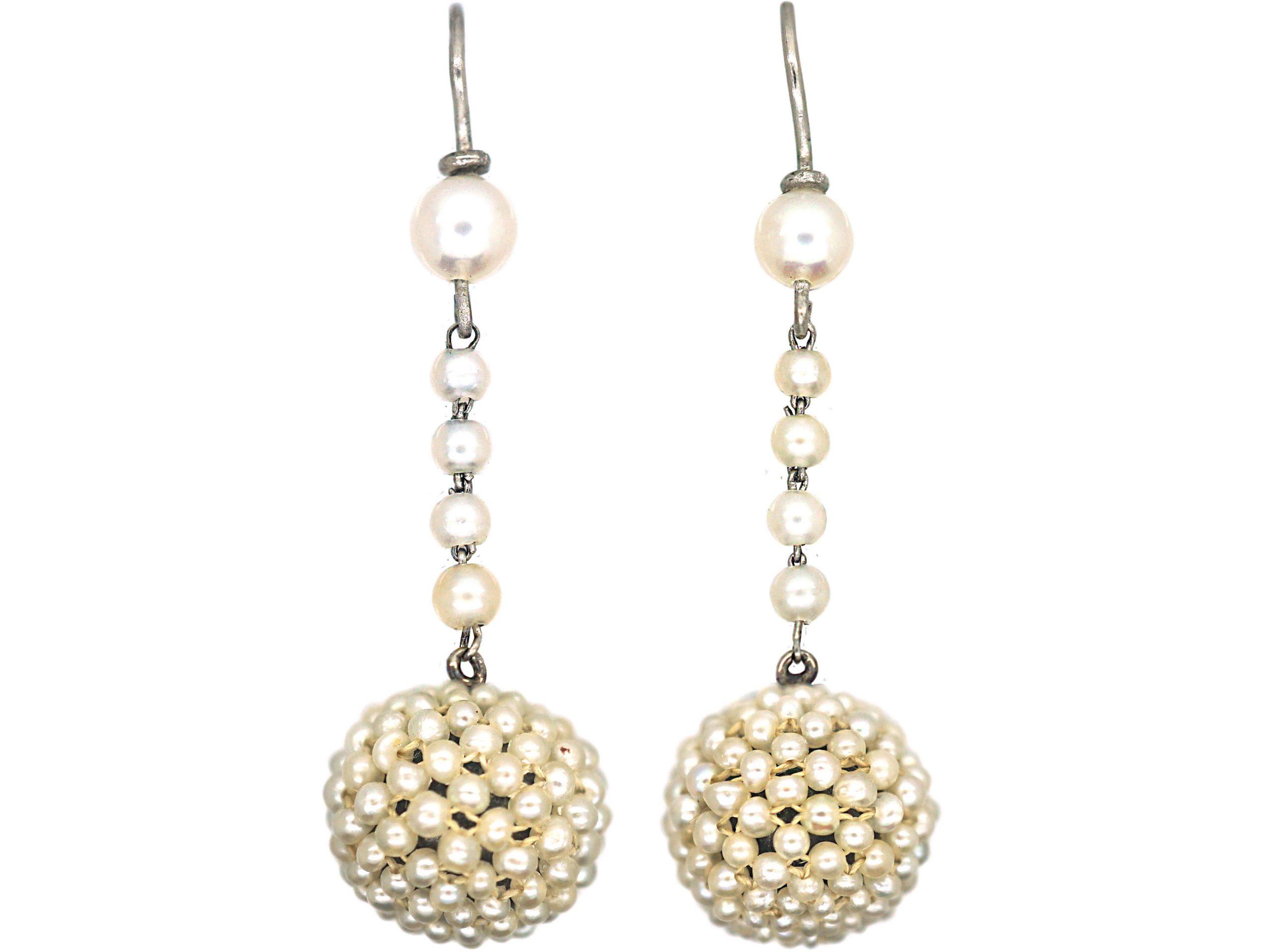 Edwardian Platinum & Natural Pearl Drop Earrings