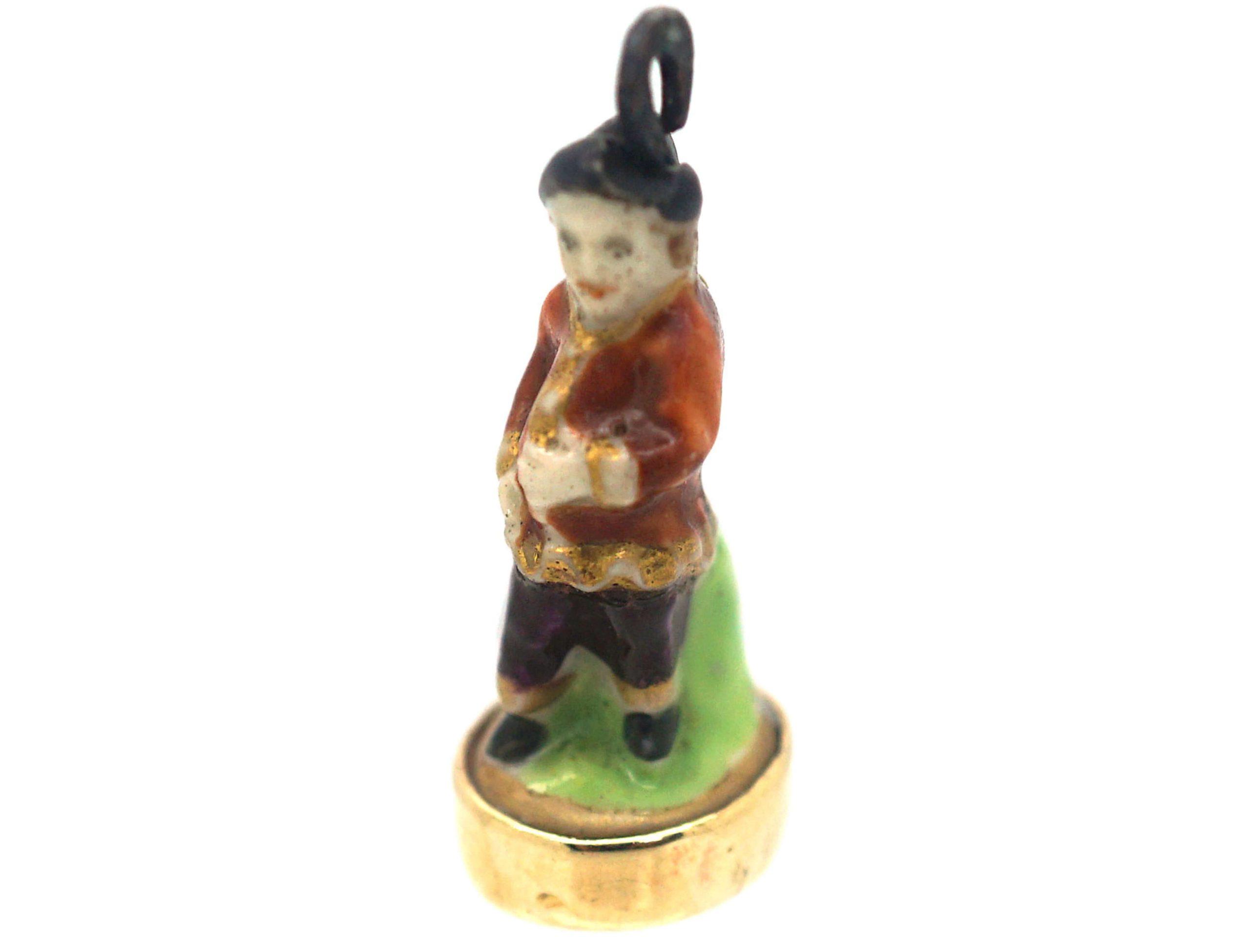 Victorian Chelsea-Derby Porcelain 18th Century Gentleman figurine Fob Charm