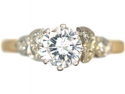 Art Deco 18ct Gold & Platinum, Diamond Solitaire Ring with Diamond Set Leaf Shoulders