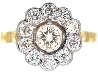 18ct Gold & Platinum, Diamond Daisy Cluster Ring