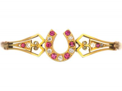 Victorian 15ct Gold, Ruby & Diamond Bangle with Horseshoe Motif