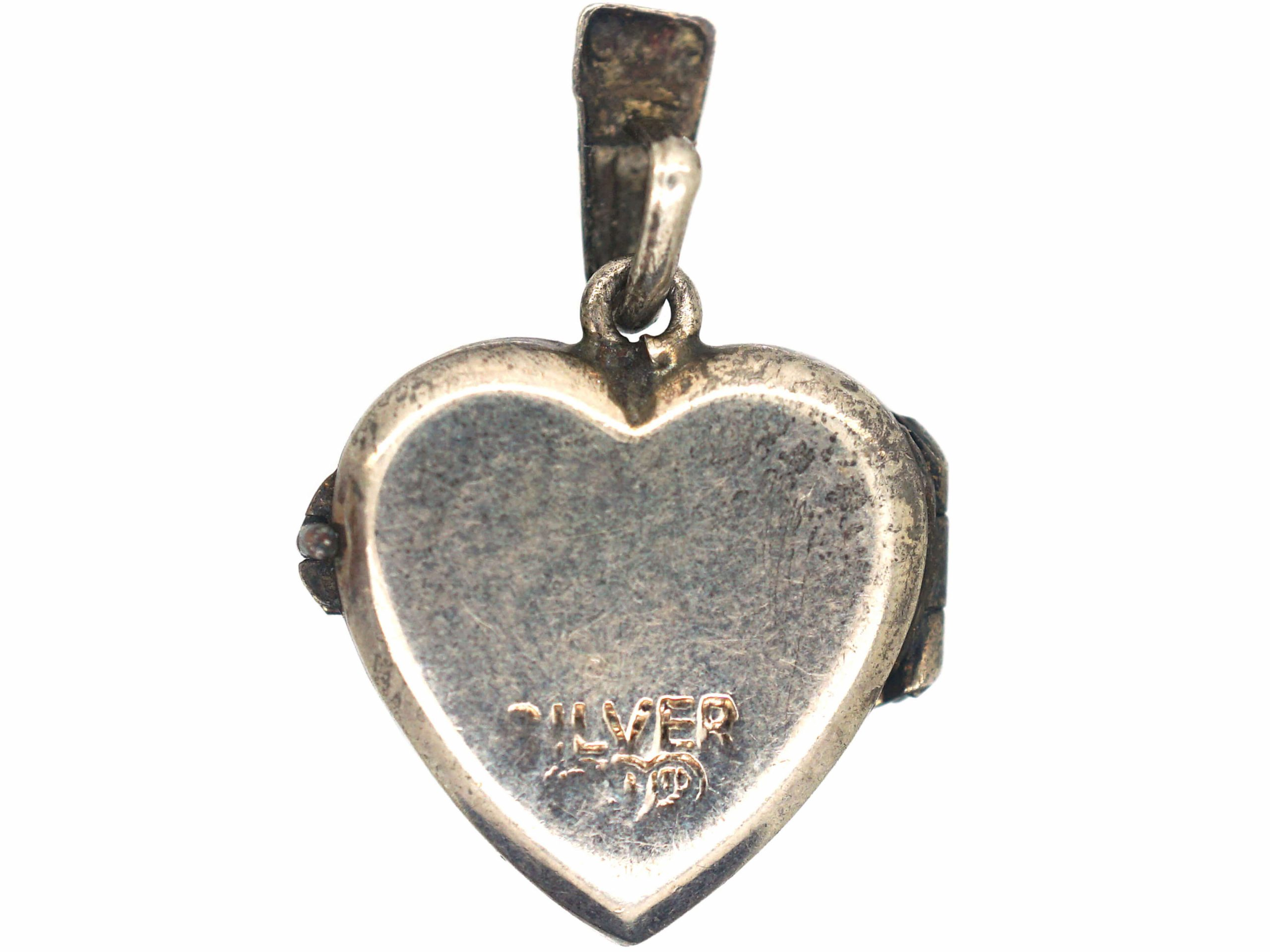 Silver Heart Shaped Locket with Flower Power Detail