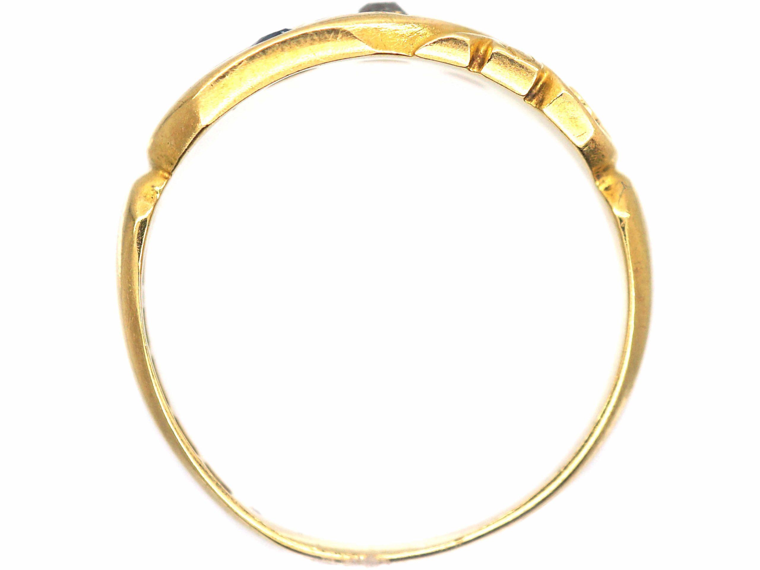Edwardian 18ct Gold, Sapphire & Diamond Scroll Design Ring