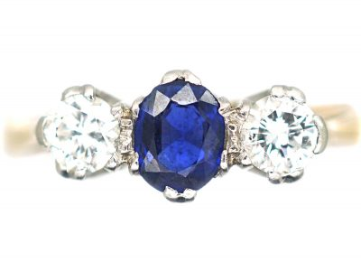 18ct Gold & Platinum, Sapphire & Diamond Three Stone Ring