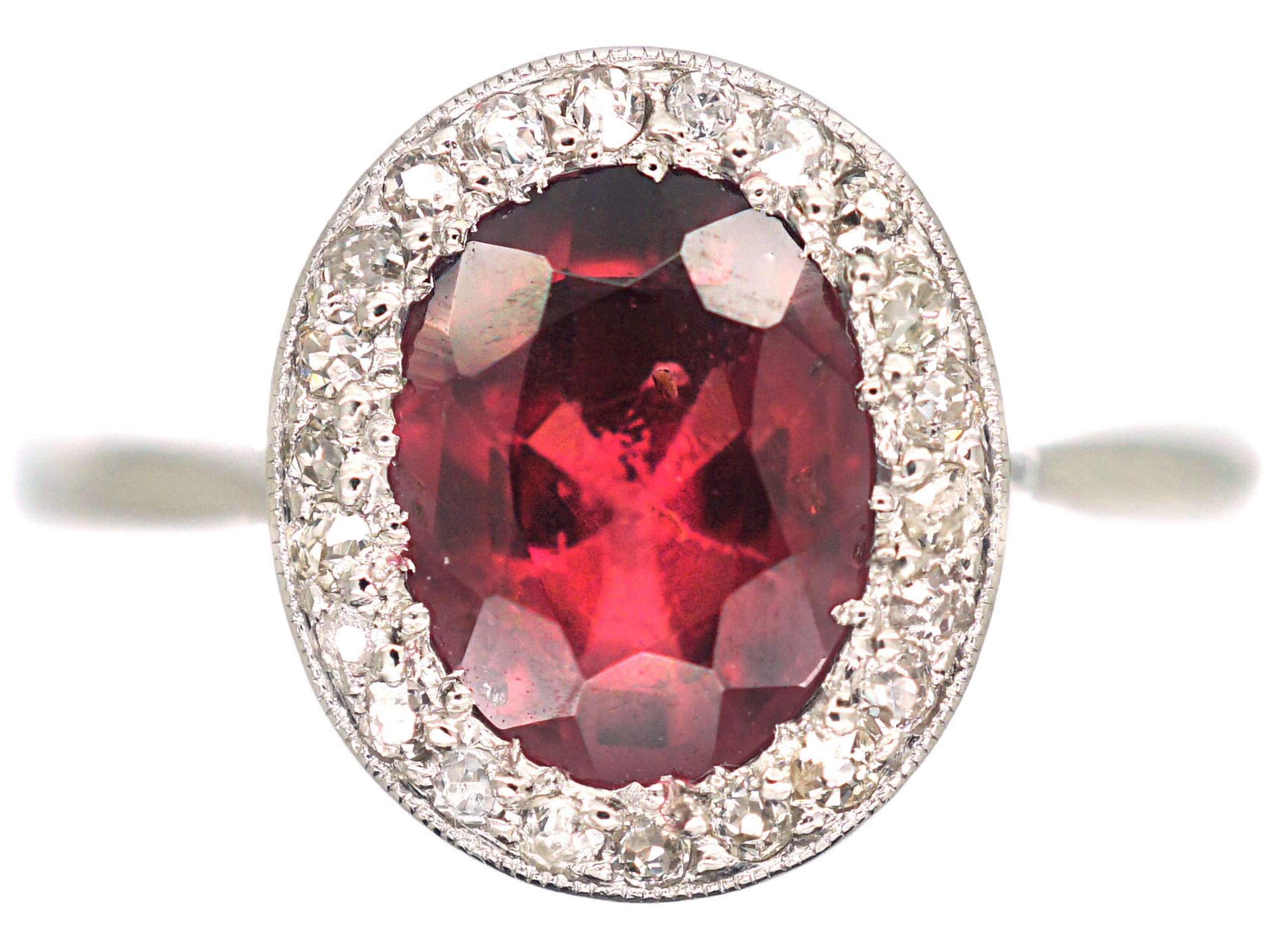 Art Deco Platinum, Natural Red Spinel & Diamond Oval Cluster Ring