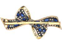Art Deco 14ct Gold & Platinum, Sapphire & Diamond Bow Brooch by Pistol & Pulker