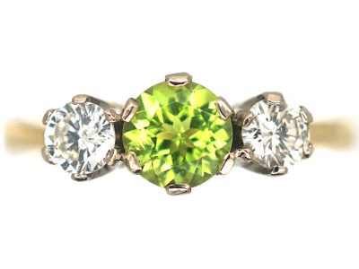 18ct Gold Peridot & Diamond Three Stone Ring