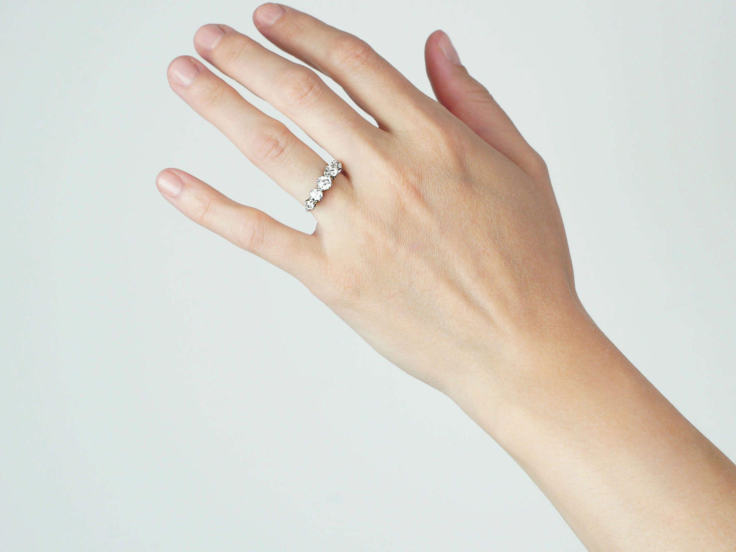 Art Deco Platinum, Five Stone Diamond Ring