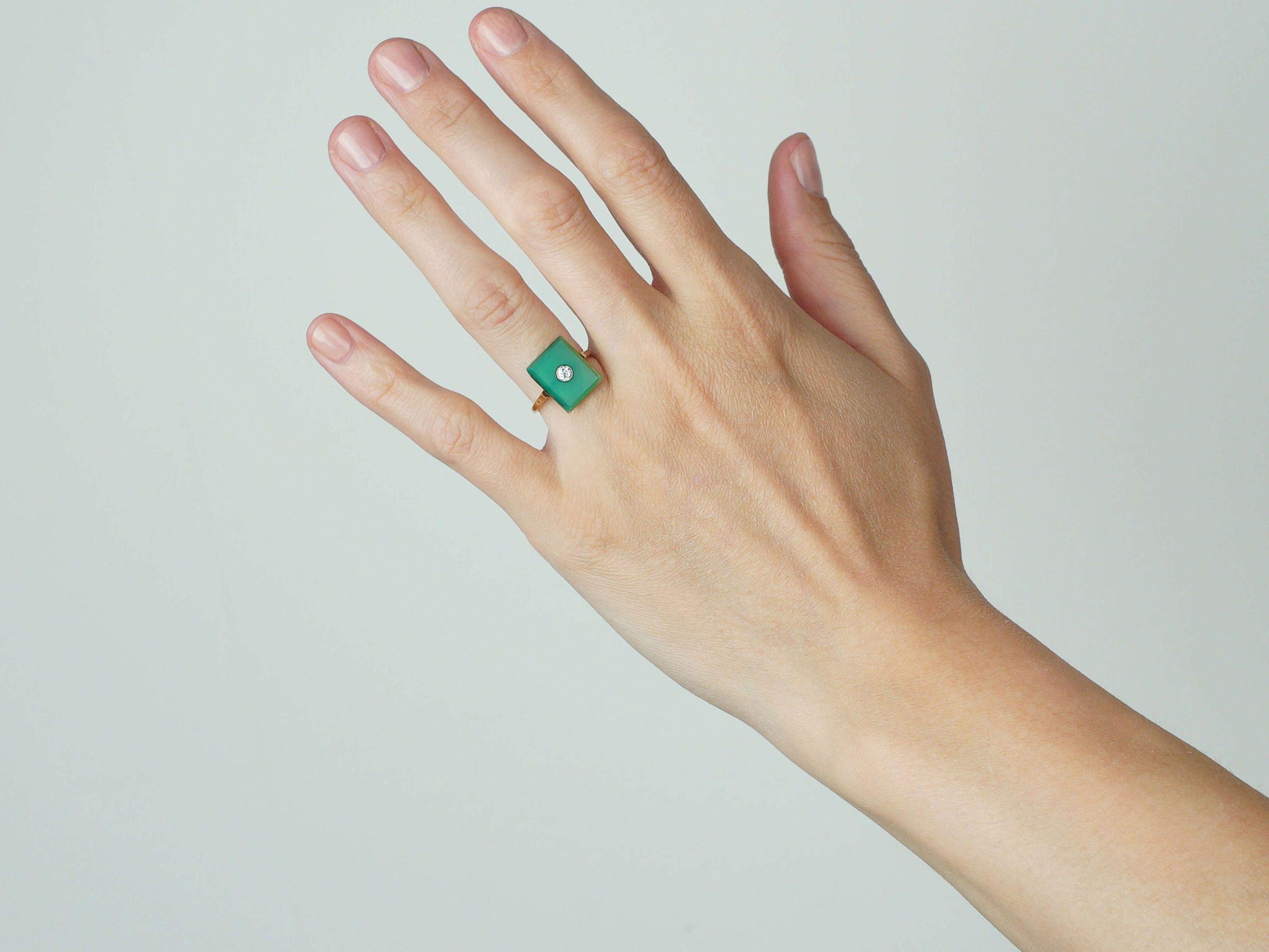 Art Deco Green Chalcedony & Diamond Rectangular Ring