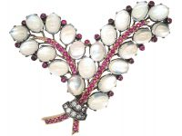 Retro 14ct White & Rose Gold, Moonstone, Diamond & Ruby Double Fern Leaf Brooch attributed to Trifari