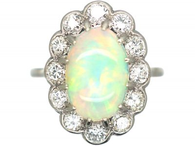 Edwardian Platinum, Opal & Diamond Oval Cluster Ring