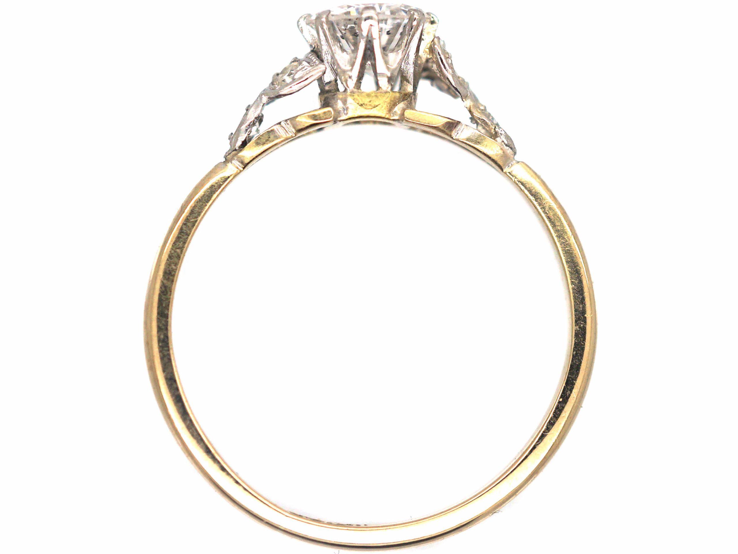 Art Deco 18ct Gold & Platinum, Diamond Solitaire Ring with Diamond Set Leaf Shoulders