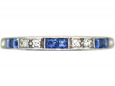 Art Deco 18ct White Gold, Sapphire & Diamond Half Eternity Ring