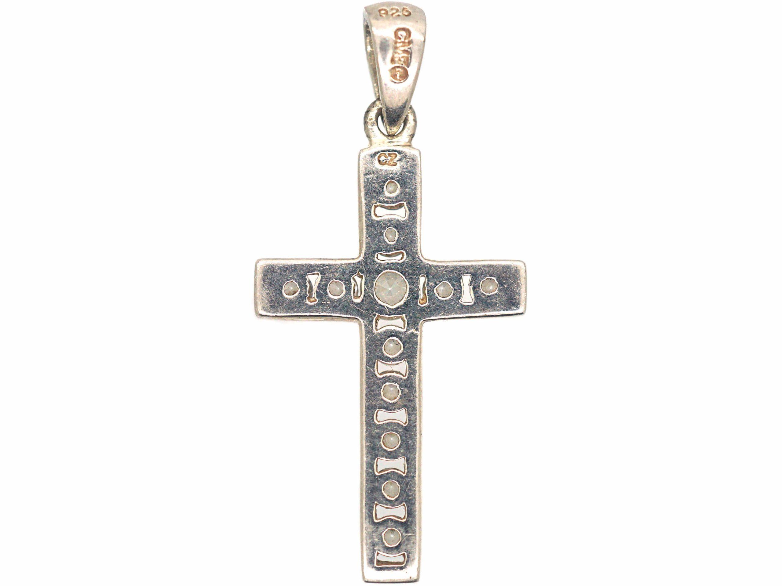 Silver & Paste Cross Pendant