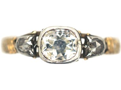 Georgian Rock Crystal & Diamond Mourning Ring Dated 1752
