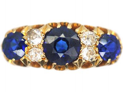 Victorian 18ct Gold, Three Stone Sapphire & Diamond Ring
