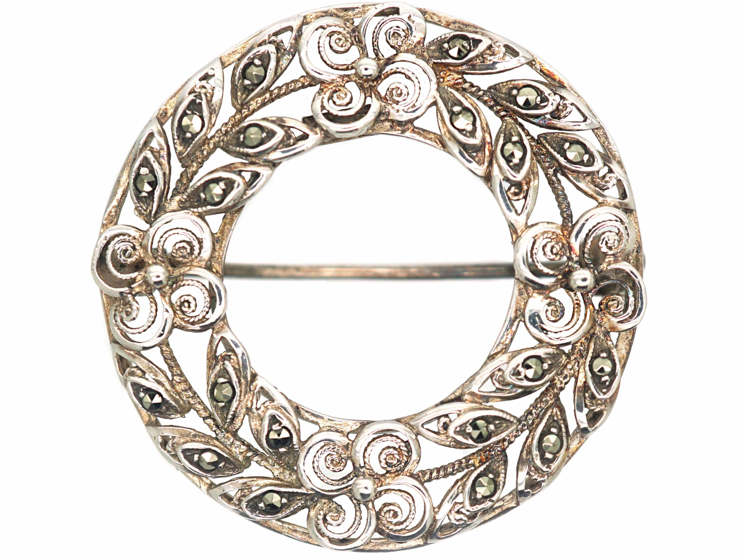 Silver & Marcasite Wreath Brooch with Flowers Motif