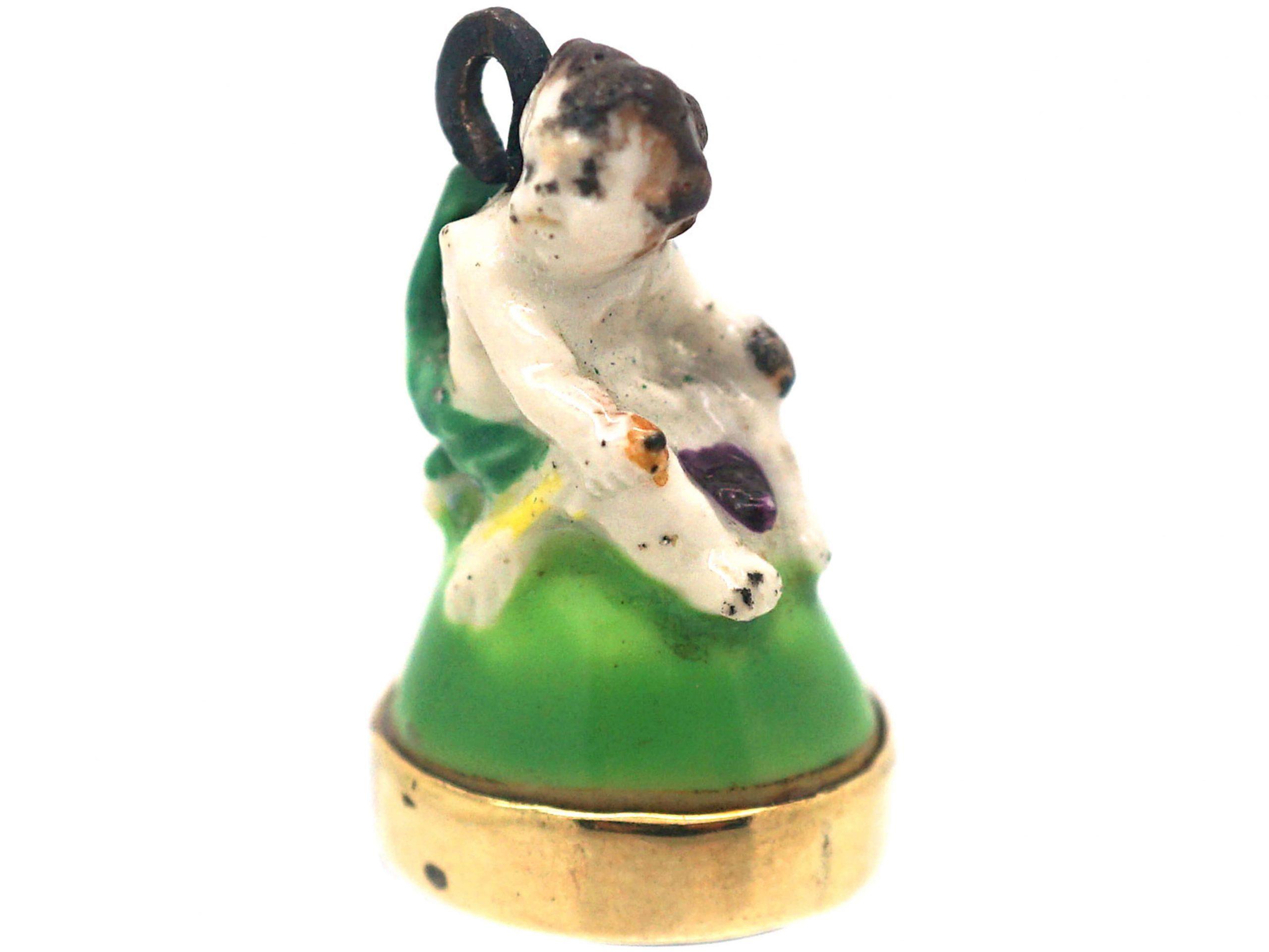 Victorian Chelsea-Derby Porcelain Cherub Seal with Carnelian Base