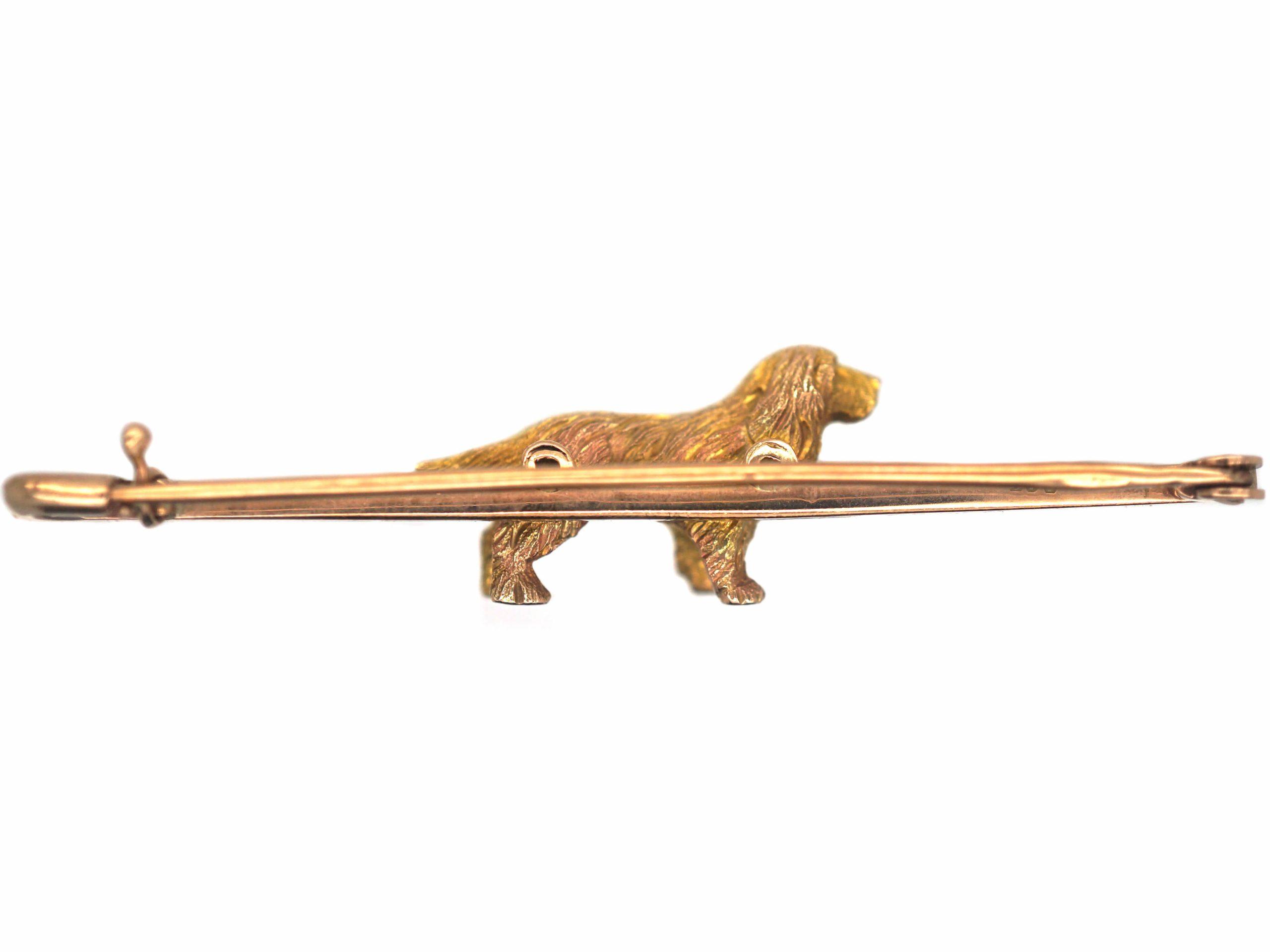 Edwardian 9ct Gold Spaniel Brooch
