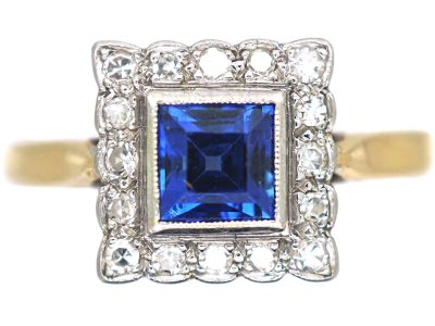 Art Deco 18ct Gold & Platinum, Sapphire & Diamond Square Shaped Ring