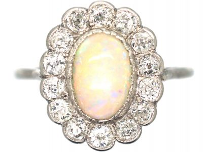Art Deco Platinum, Opal & Diamond Cluster Ring