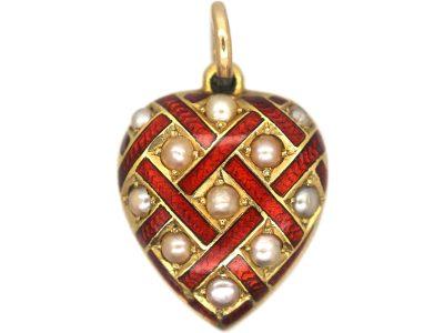 Edwardian 15ct Gold, Red Enamel & Natural Split Pearl Heart Pendant