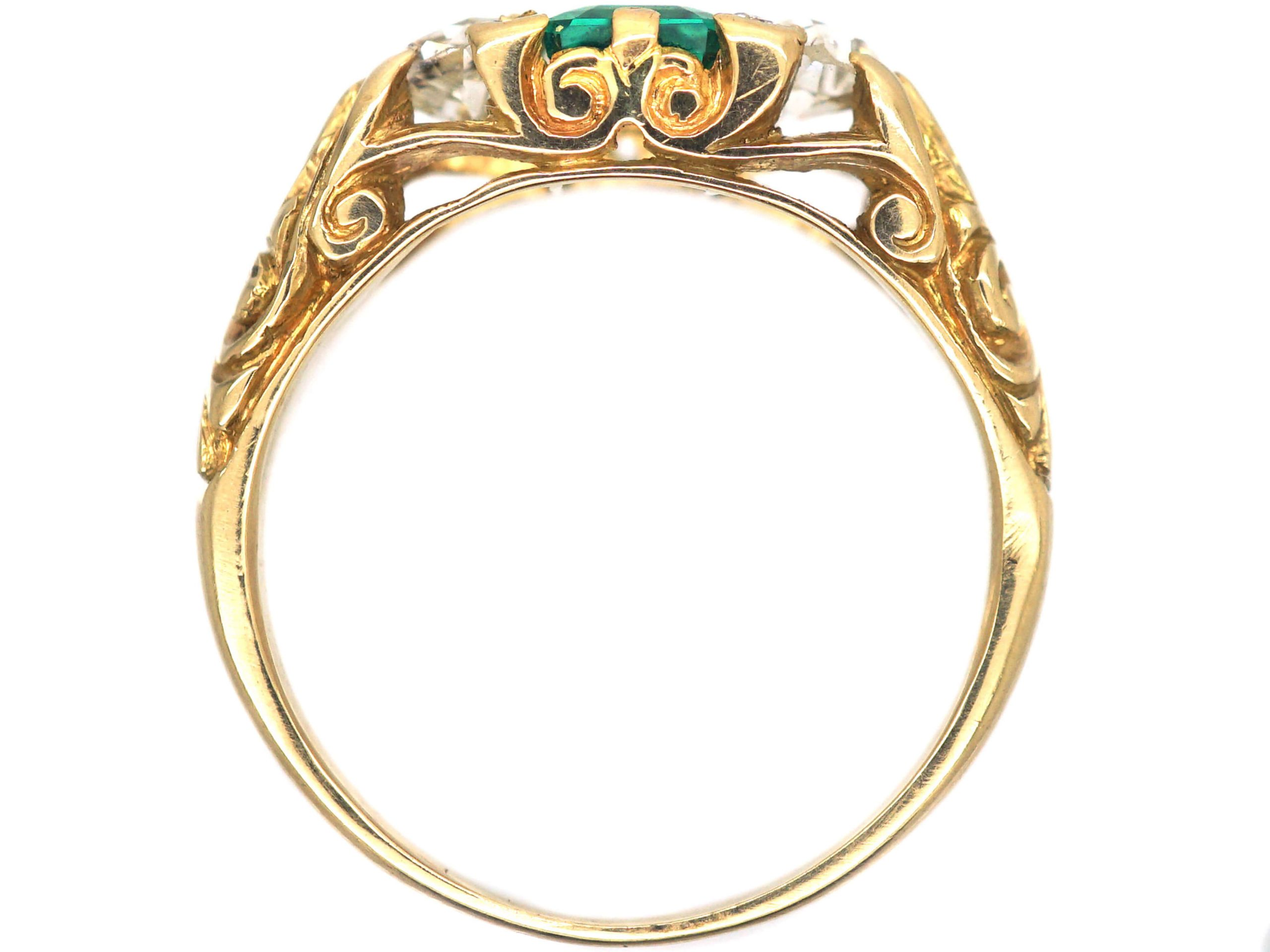 Victorian Carved Half Hoop Ring set with an Emerald & Diamonds