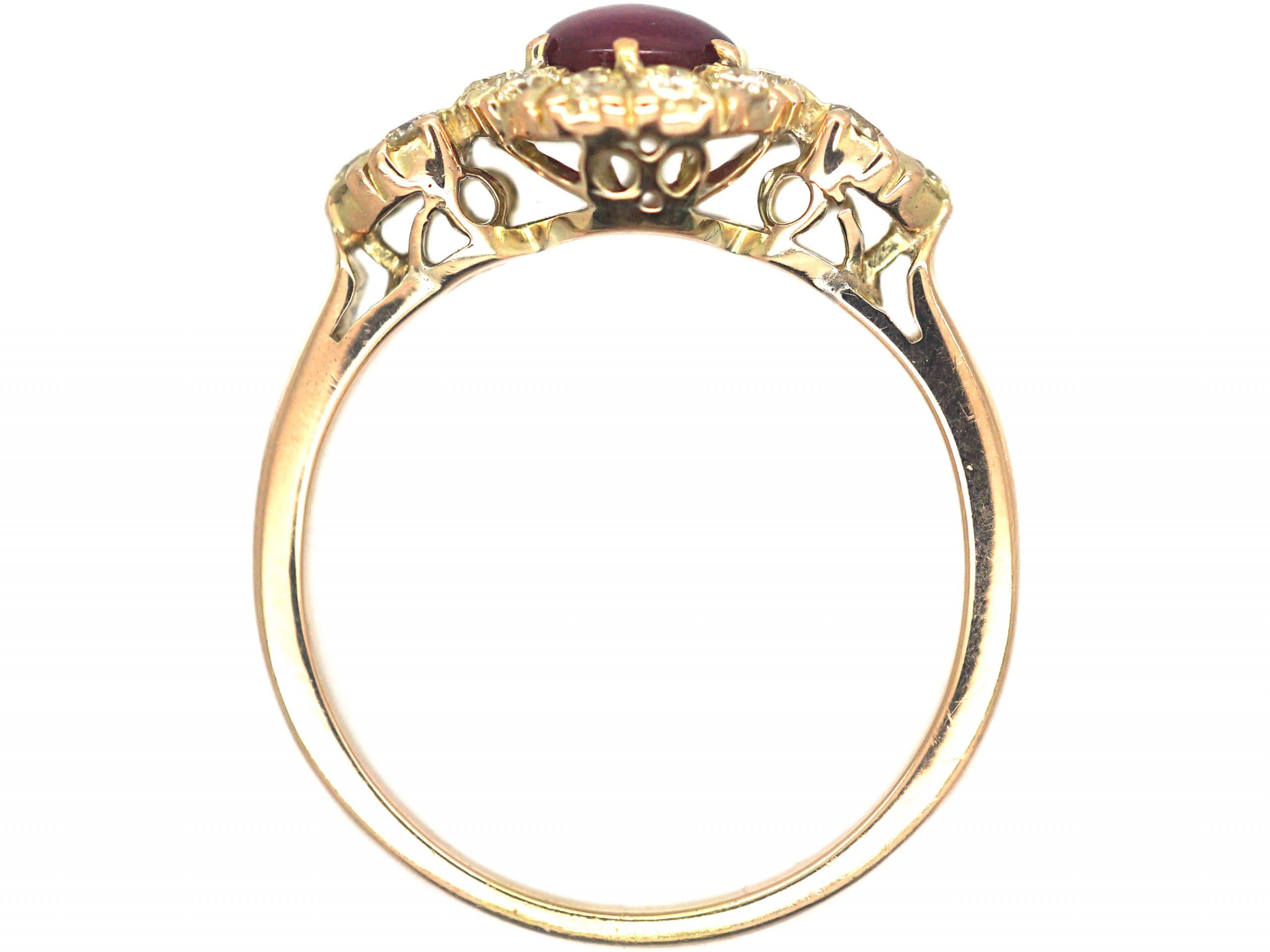 18ct Gold, Cabochon Star Ruby & Diamond Cluster Ring
