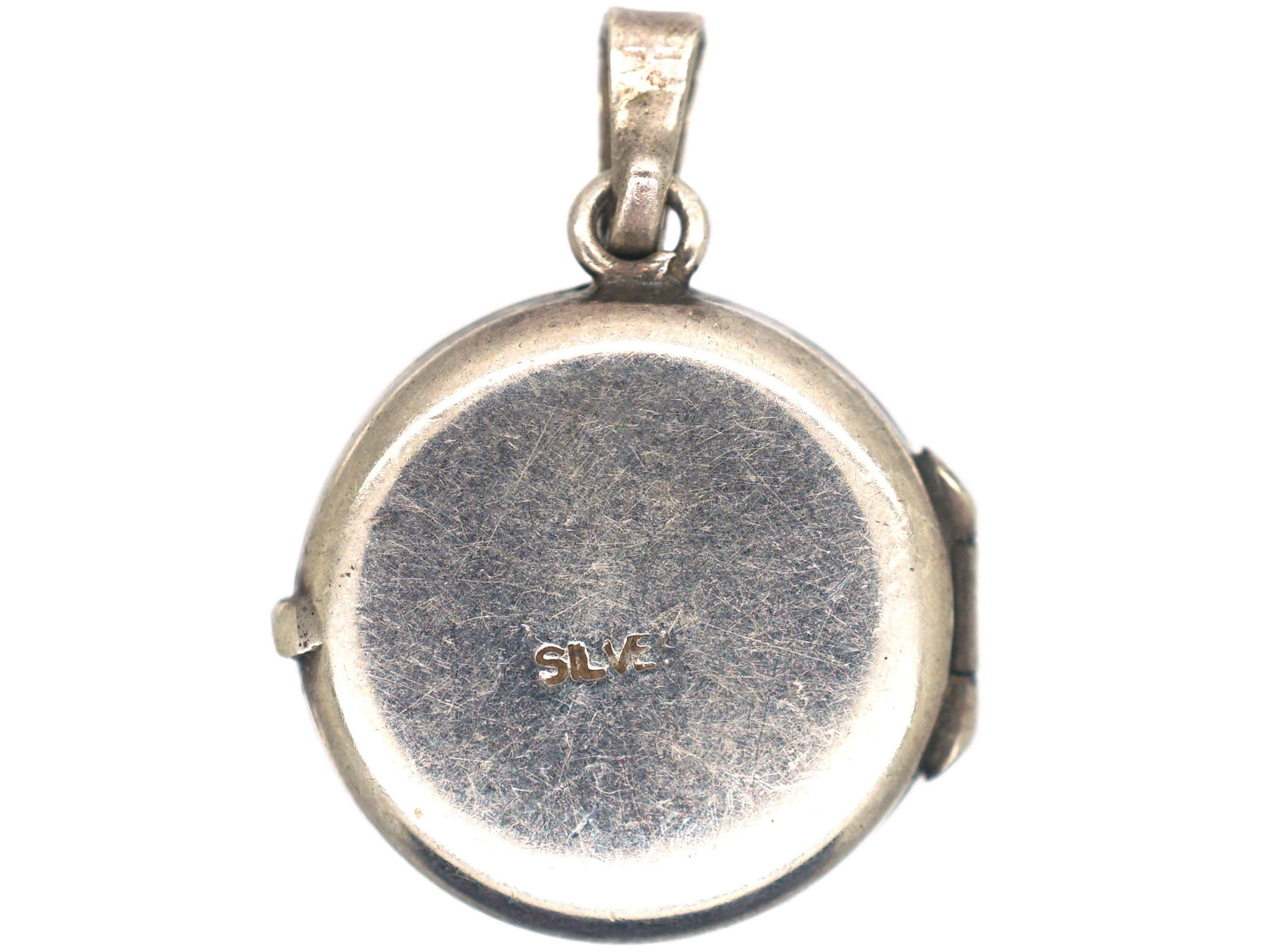 Silver Round Locket with Engraved Leaf Detail