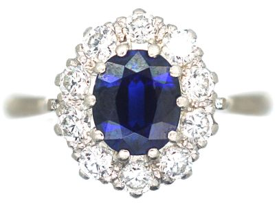 18ct White Gold & Platinum, Sapphire & Diamond Cluster Ring