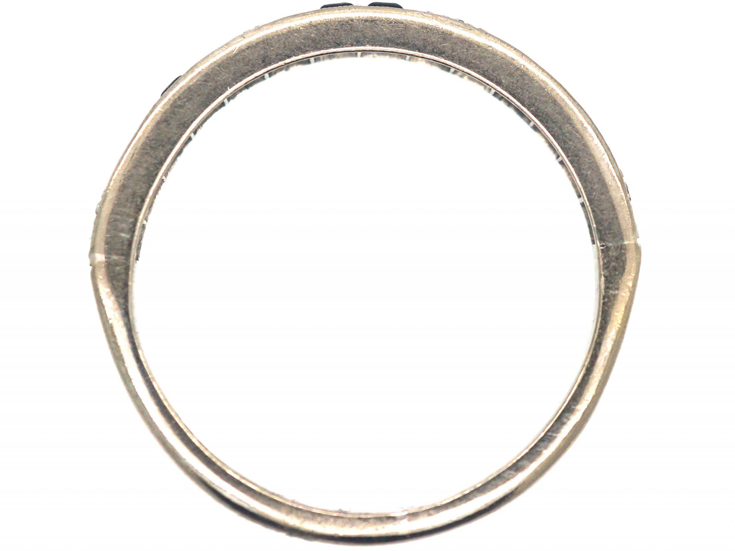 Art Deco 18ct White Gold, Sapphire & Diamond Half Eternity Ring